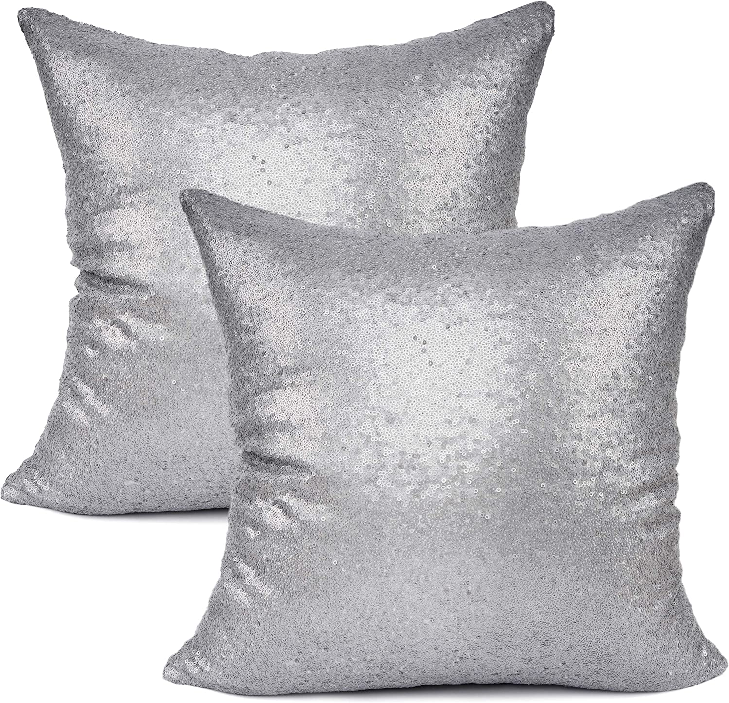 """YOUR SMILE Pack of 2, New Luxury Series Grey Decorative Glitzy Sequin & Comfy Satin Solid Throw Pillow Cover Cushion Case for Wedding/Party,18"""" x 18"""""""