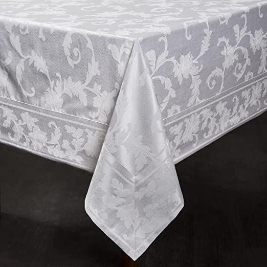 "Harmony Scroll Tablecloth (White, 60"" X 120"" Rectangular)"