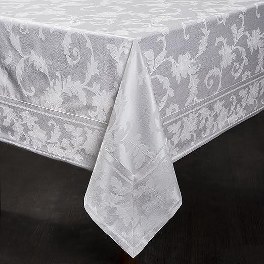 "Harmony Scroll Tablecloth (White, 60"" X 120"" Rectangular)"