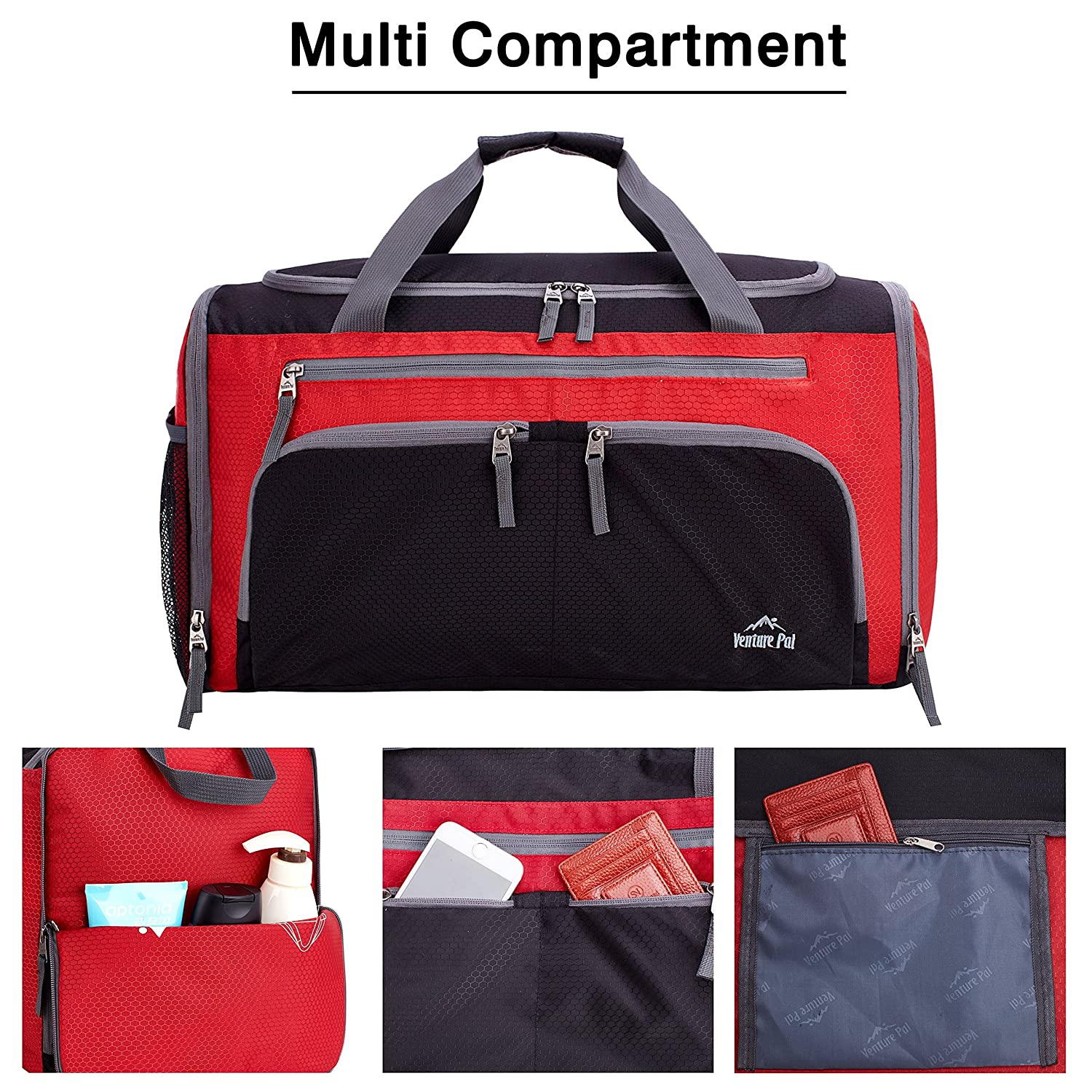 Venture Pal Packable Sports Gym Bag with Wet Pocket    Shoes Compartment  Travel Duffel Bag for ... 0c1cb99ff2476