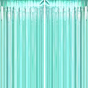 Teal Blue Tinsel Foil Fringe Curtains - Under The Sea Baby Shower Birthday Photo Backdrops Bachelorette Wedding Bridal Shower Party Decor Photo Booth Props Backdrops Decorations, 2pc