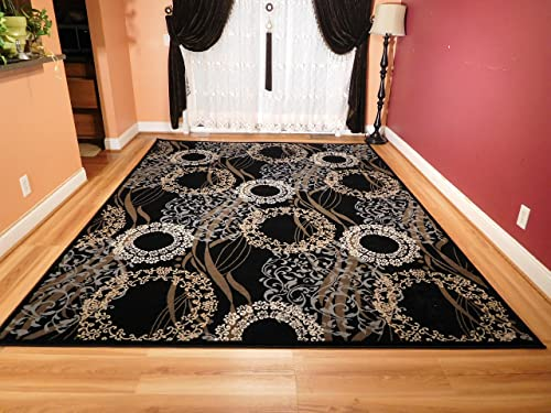 Luxury Modern Rugs for Living Dining Room Black Cream Beige Rug 5×7 Contemporary Eetrance Rug Indoor Area Rugs 5×8 Bedroom Rugs