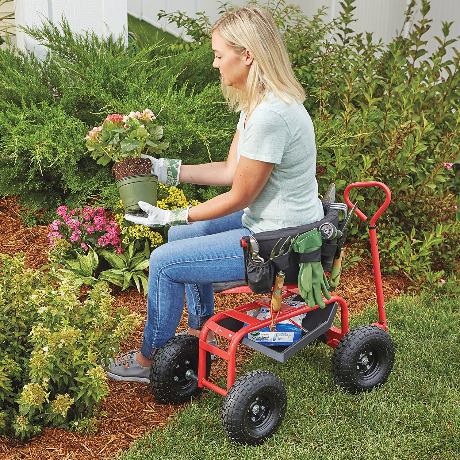 Kotulas Deluxe Rolling Garden Seat With Easy Change Turnbars — Red Kotula/'s