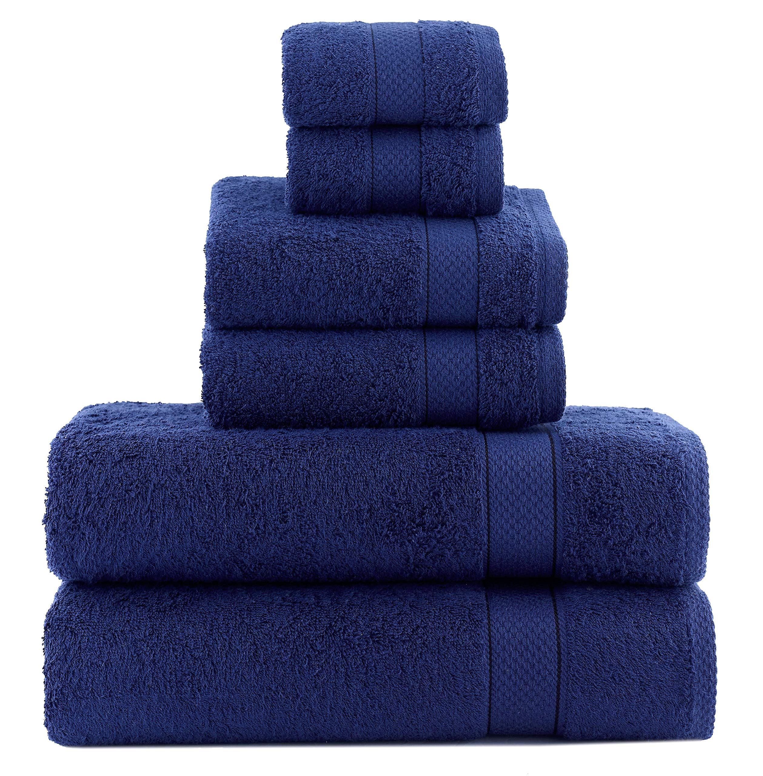 ixirhome Turkish Towel Set 6 Piece,100% Cotton, 2 Bath Towels, 2 Hand Towels 2 Washcloths, Machine Washable, Hotel Quality, Super Soft Highly Absorbent (NAVY BLUE)