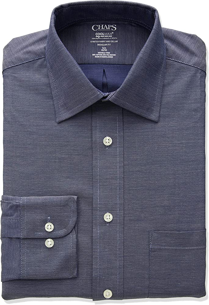 Chaps Mens Dress Shirts Regular Fit Stretch Collar Solid: Amazon ...