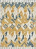 Stone & Beam Modern Global Ikat Wool Area Rug, 5' x 8', Blue