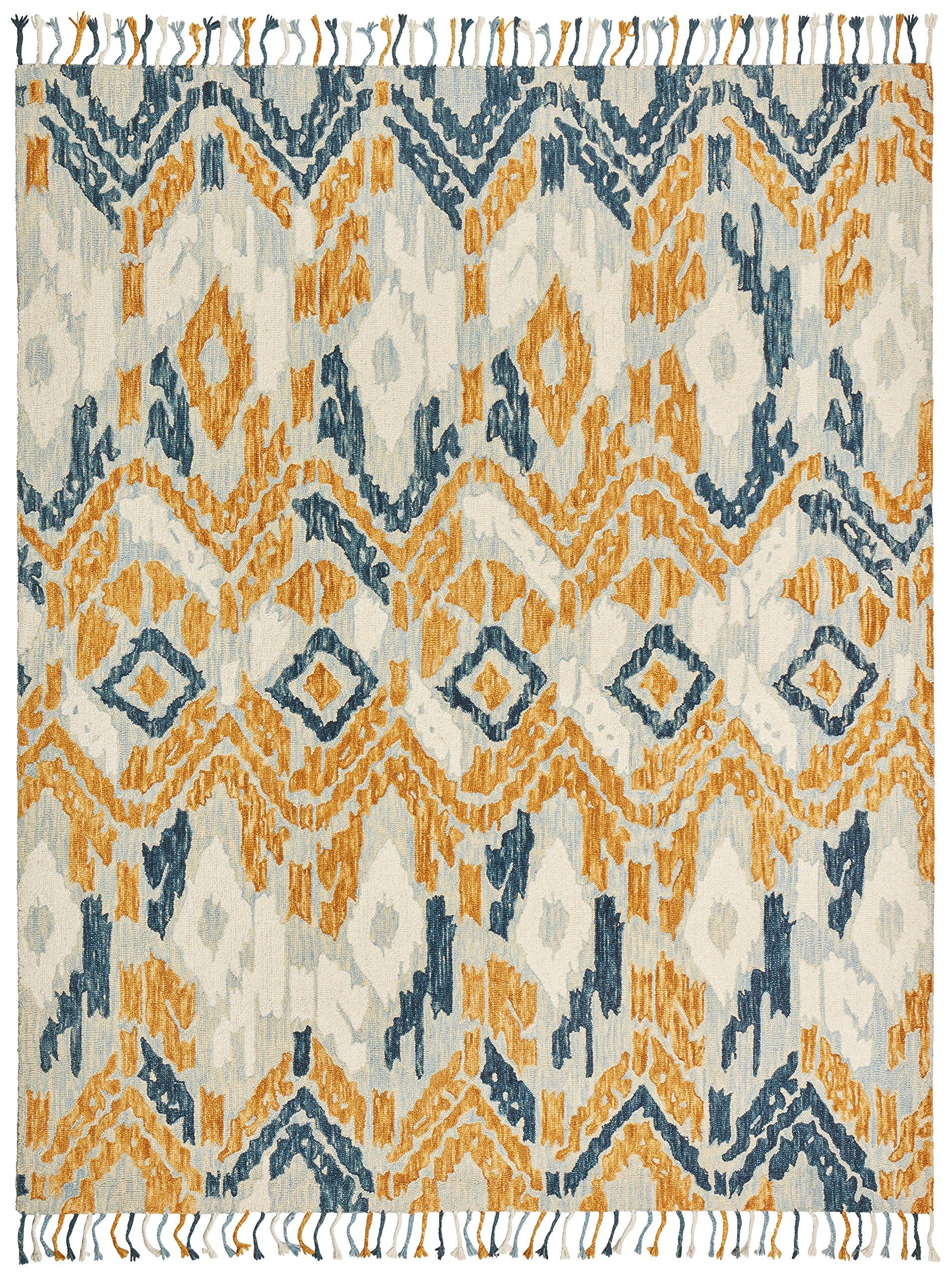Stone & Beam Modern Global Ikat Wool Area Rug, 5 x