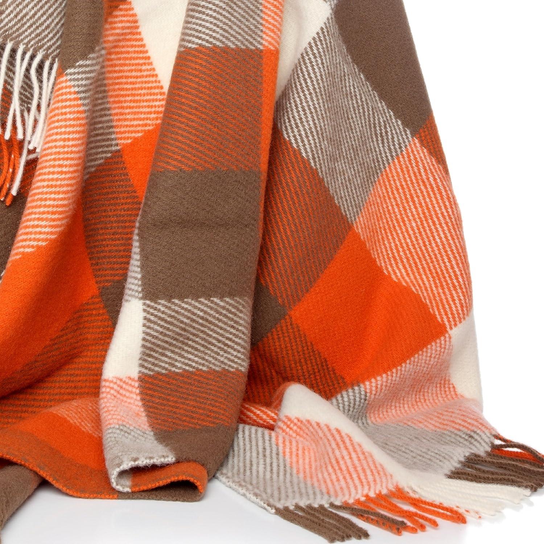 orange check throw   pure new wool amazoncouk kitchen  home -