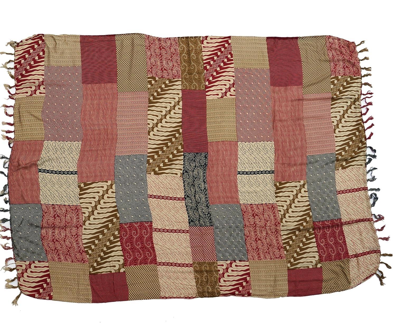 Sarongs Vestido Sarong Patchwork Print Toallas de Playa Sint/ético Tama/ño:One Size Colgante de Pared Bali Sarong Rojo GURU-SHOP Falda Envolvente