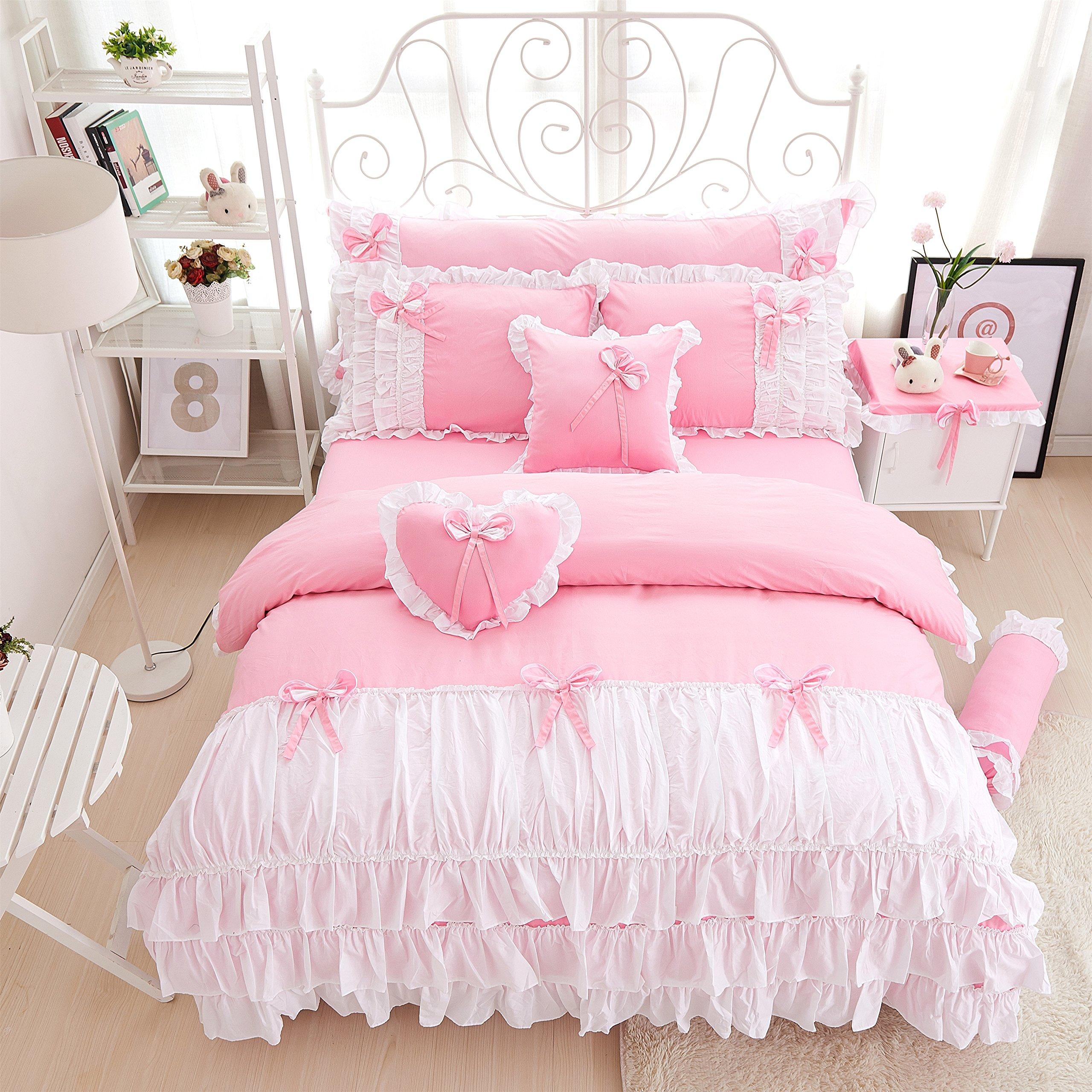Lotus Karen Cute Candy Color Ruffles Korean Bedding Set Bow-knots 100%Cotton 4PC Pink Girls Duvet Cover Sets,1Duvet Cover,1Bedskirt,2Pillowcases,King Queen Full Twin Size