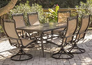 Hanover MONDN7PCSW-6 Monaco 7 Piece Set with Six Swivel Rockers and a 68 x 40 Dining Table Outdoor Furniture, Tan