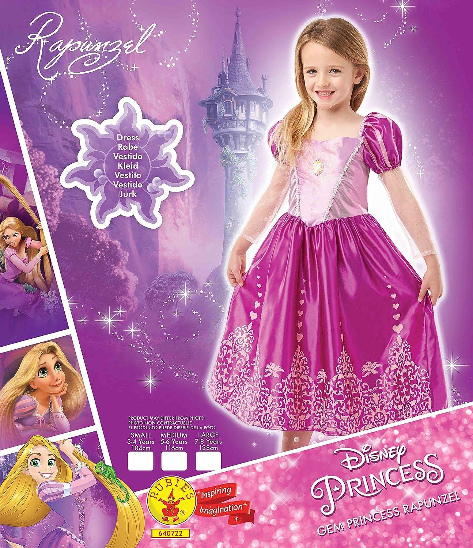 infantil 7-8 a/ños Princesas Disney Disfraz de Rapunzel Deluxe para ni/ña Rubies 640722-L