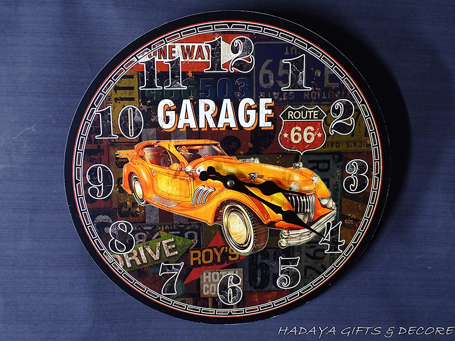 hadaaya gifts & home decor CAR Lovers Garage Themed Wall Clock, Shabby Chic, Perfect décor Item for a Man cave or a Garage