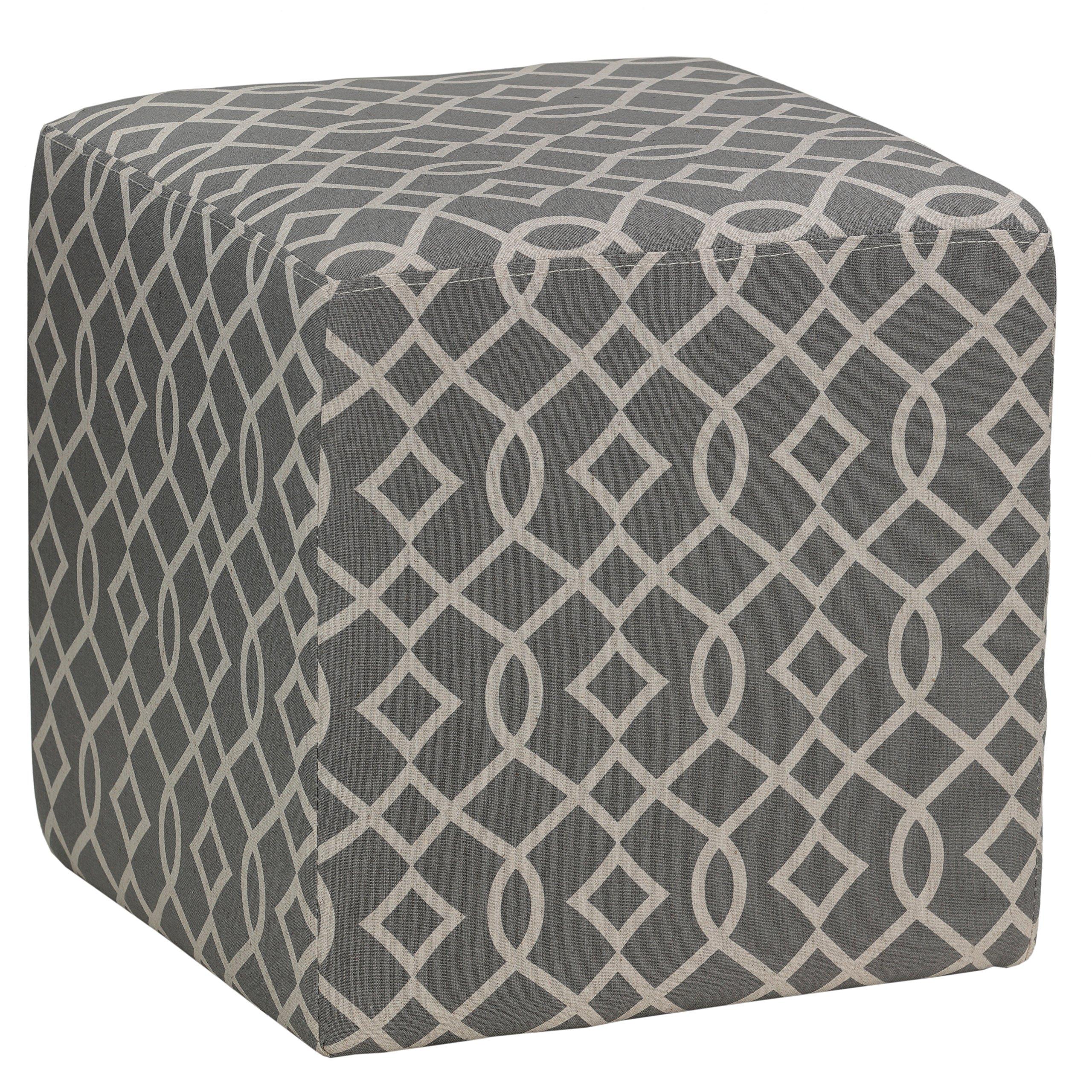 Cortesi Home Braque Grey Cube Ottoman in Linen Fabric, 15''