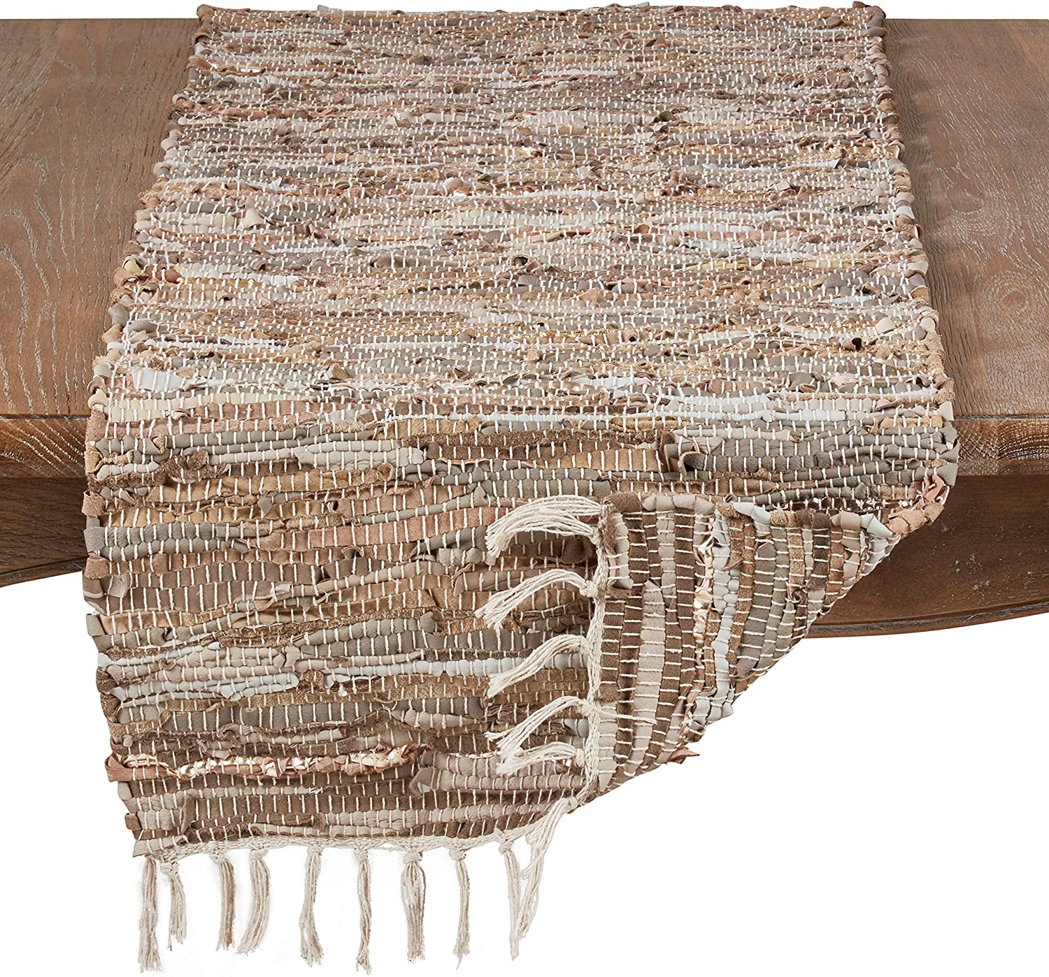 SARO LIFESTYLE 4875.N1672B Cuir Collection Chindi Design Leather And Cotton Runner 16 x 72 Natural