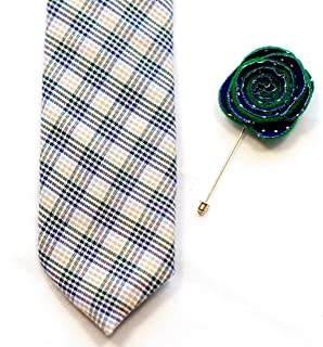product image for Dashing Plaid Neck tie and lapel flower set