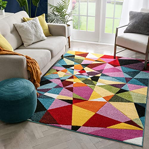 Well Woven Marvelous Angles Multi Hand-Carved Abstract Geometric Pattern Area Rug 8×10 7'10″ x 9'10″