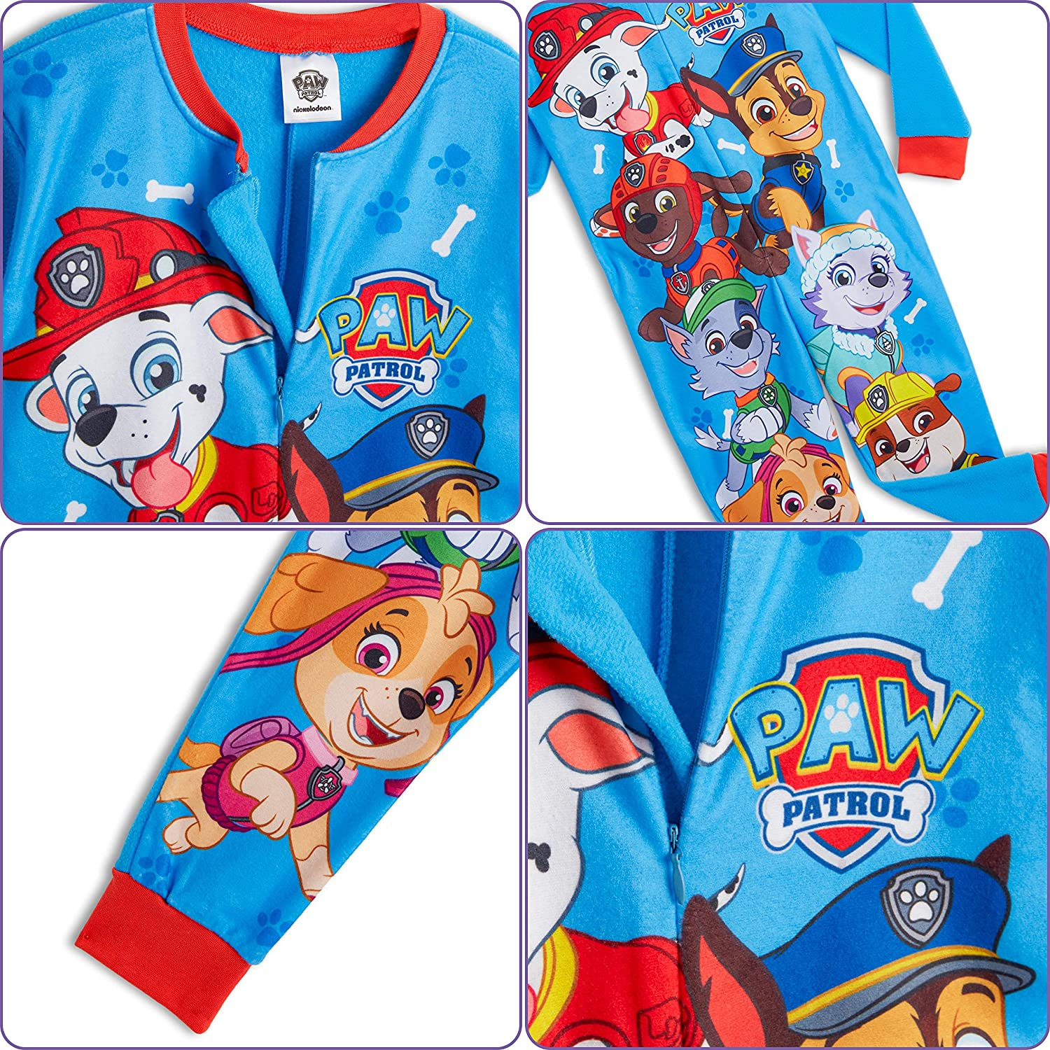 Skye All in One Children PJ Jumpsuit Children/'s Onesie Characters Paw Patrol Onesie for Kids Chase and Marshall Onesie Pyjama for Boys and Girls