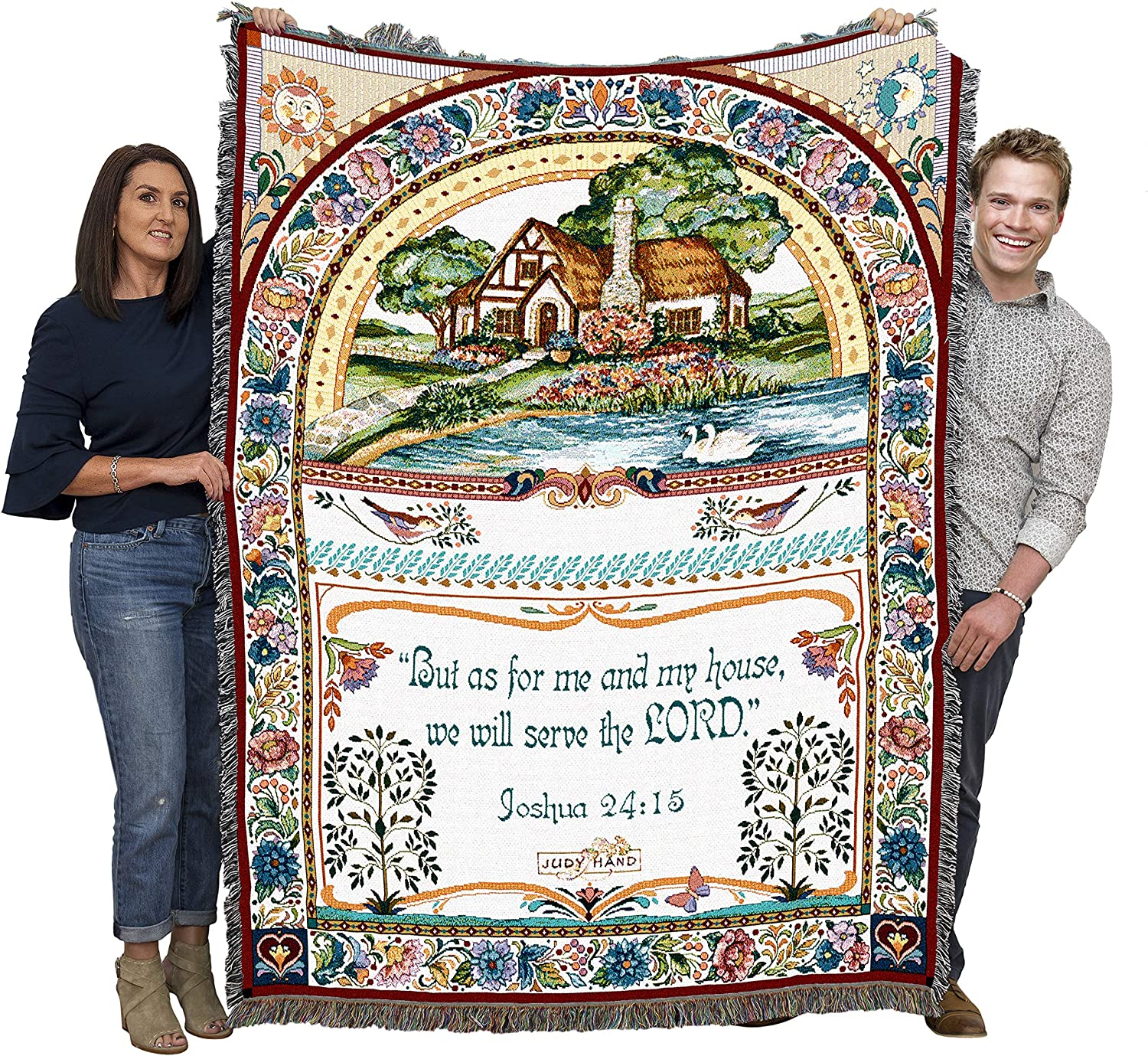 Pure Country Weavers Coastal Splendor with Scripture Woven Tapestry Throw Blanket with Fringe Cotton USA 72x54
