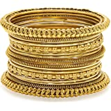 Aheli Antique Finish Oxidized Bohemian Bangle Set for Her Women Bollywood Festive Indian Jewelry (Golden)