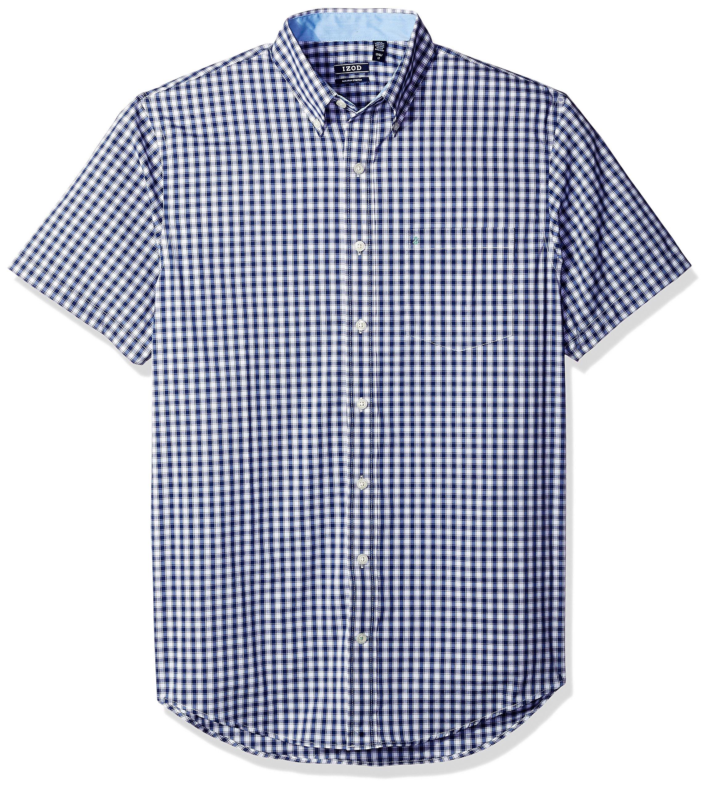 IZOD Men's Big and Tall Advantage Performance Poplin Short Sleeve Shirt, Deep Twilight Blue, 2X-Large Tall