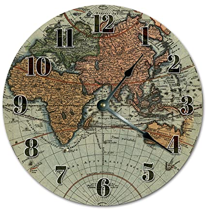 Amazon easysells 105 vintage style world map clock large easysells 105quot vintage style world map clock large 105quot wall clock home gumiabroncs Image collections