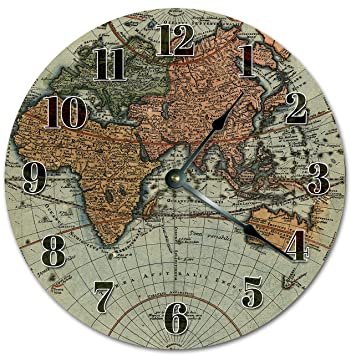 Amazon 105 vintage style world map clock large 105 wall 105quot vintage style world map clock large 105quot wall clock home dcor gumiabroncs Choice Image