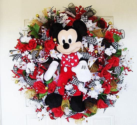 Amazon Com Plush Mickey Mouse Valentine S Day Deco Mesh Front Door