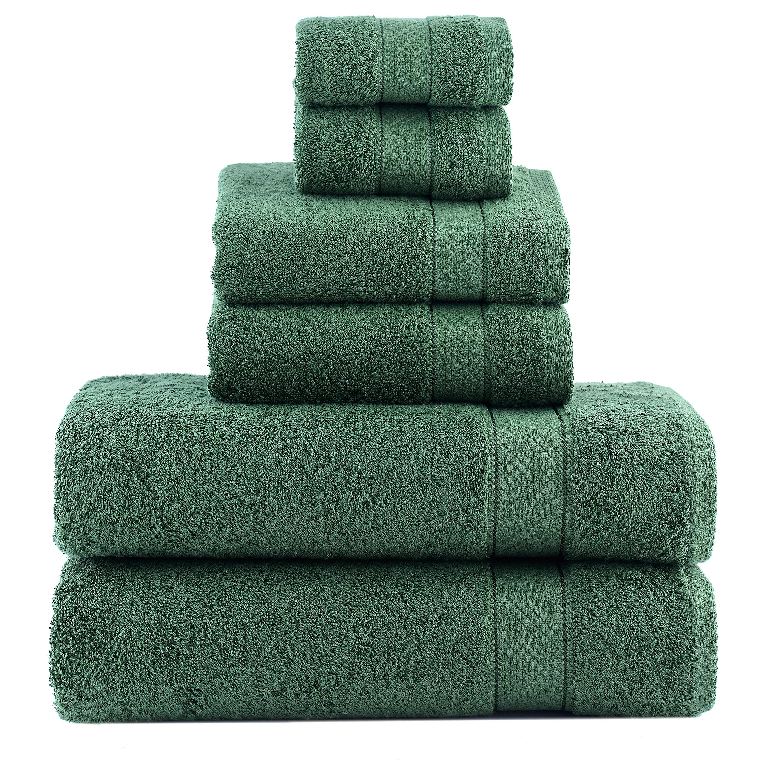 ixirhome Turkish Towel Set 6 Piece,100% Cotton, 2 Bath Towels, 2 Hand Towels and 2 Washcloths, Machine Washable, Hotel Quality, Super Soft and Highly Absorbent by (Forest Green)