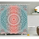 style lounge shower curtain. Coral and Teal Shower Curtain by Ambesonne  Modern Tribal Mandala Tibetan Healing Motif with Floral Amazon com Arabella Style Lounge 72