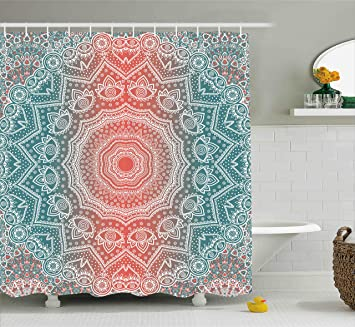Coral And Teal Shower Curtain By Ambesonne Modern Tribal Mandala Tibetan Healing Motif With Floral