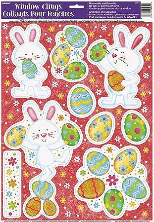 happy easter bunny window cling sheet