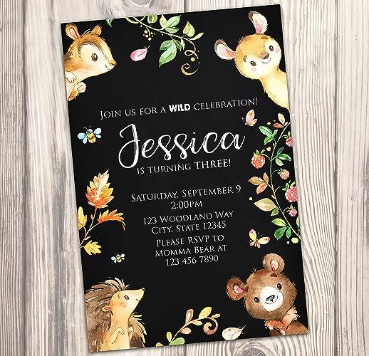 amazon com woodland birthday party invitation deer bear chipmunk