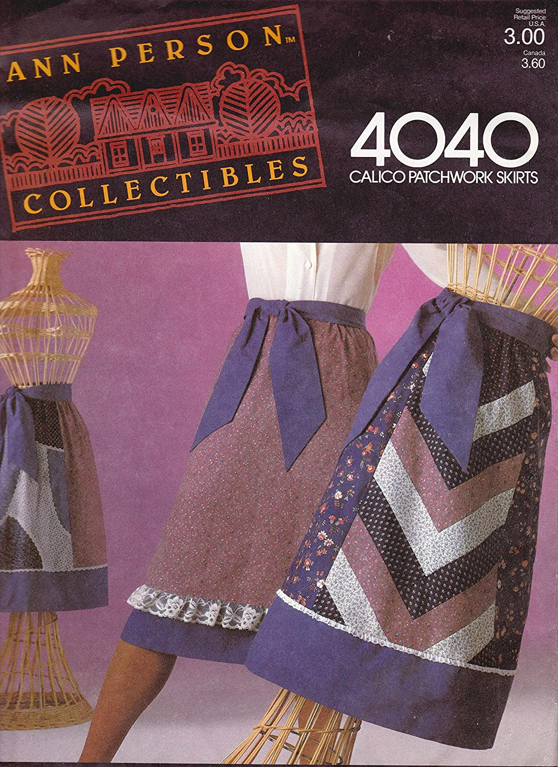 Ann Person Collectibles Stretch & Sew Pattern 4040 ~ Calico Patchwork A-Line Skirts ~ Small ~ Medium ~ Large by Stretch & Sew   B00CCTRYT2