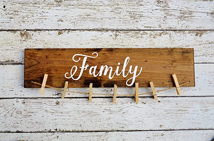 Family Picture Frames with Sayings, Rustic Picture Holder Display,  Grandkids Make Life Grand,