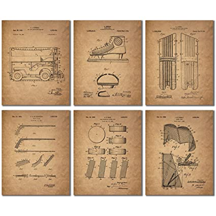 Hockey Patent Prints   Set Of Six Vintage Wall Art Photos