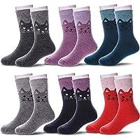 6 Pairs Children's Boys Girls Thick Animal Warm Wool Socks Kids Winter Crew Socks