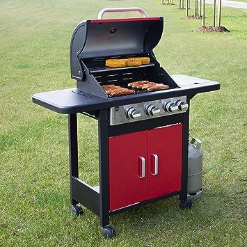 Barbec-U Barbacoa de gas profesional 3 + 1, carro de barbacoa, estación de barbacoa con 3 quemadores principales y un quemador lateral, barbacoa de gas con ...