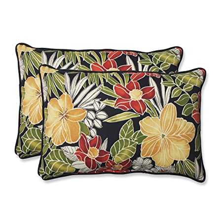 Pillow Perfect Outdoor Clemens Over-Sized Rectangular Throw Pillow, Noir, Set of 2