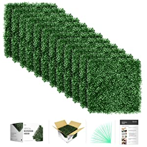 "flybold Artificial Boxwood Panels Topiary Hedge Plant UV Protected Privacy Screen Outdoor Indoor Use Garden Fence Backyard Home Decor Greenery Walls Pack of 12 Pieces 20"" x 20"" inch Dark Green"