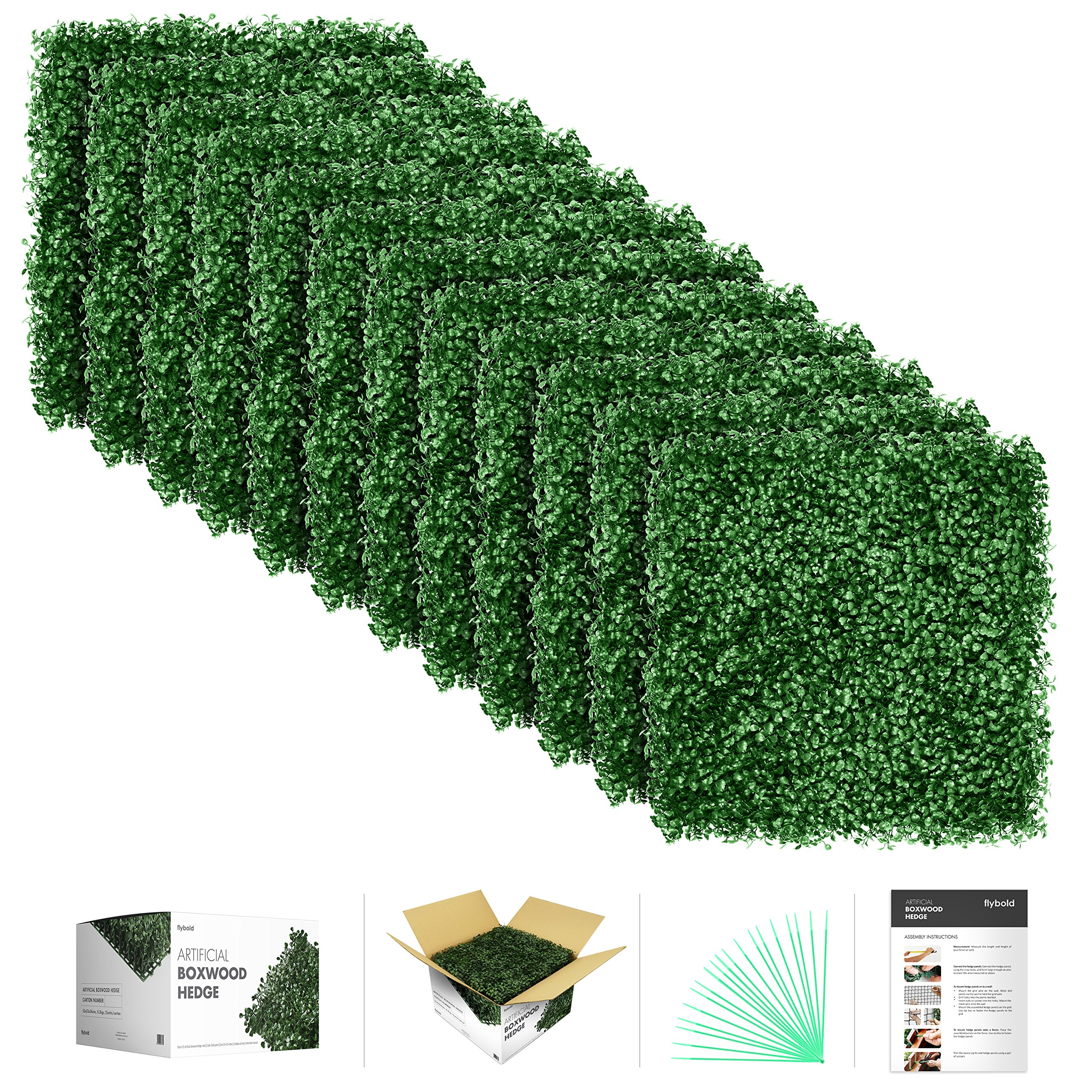 flybold Artificial Boxwood Topiary Hedge Plant UV Protected Privacy Screen Outdoor Indoor Use Garden Fence Backyard Home Decor Greenery Walls Pack of 12 pieces 20'' x 20'' inch Dark Green