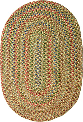 Katherine Multi Indoor Outdoor Oval Braided Rug, 4 by 6-Feet, Camel