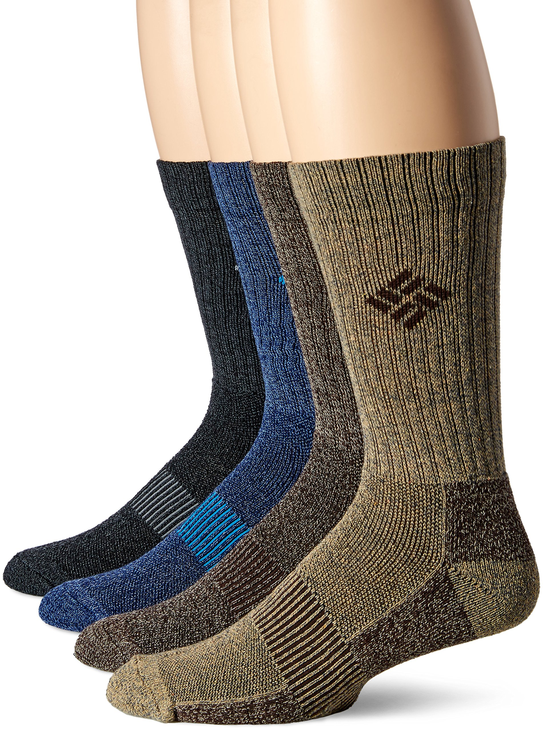 Columbia Men's 4 Pack Moisture Control Ribbed Crew, Assorted, Sock Size: 10-13/Shoe Size:9-11 by Columbia