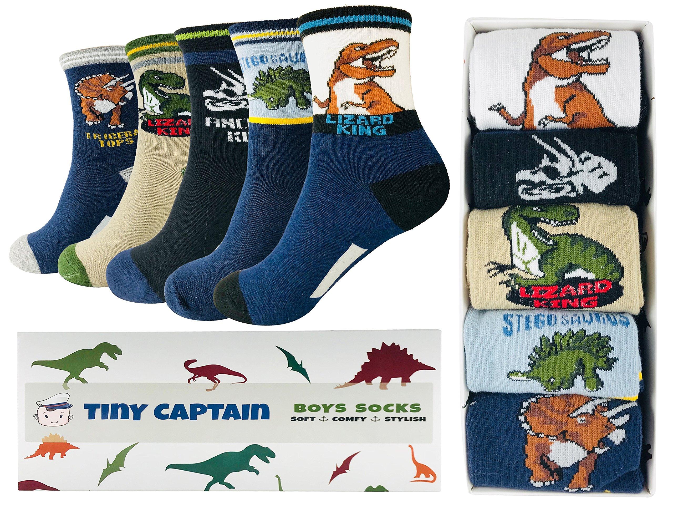 Tiny Captain Boy Dinosaur Socks 4-7 Year Old Boys Crew Cotton Sock Perfect Age 5 Gift Set (Medium, Black and Blue)