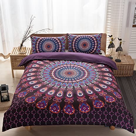 LELVA 3 Pcs Brushed Microfiber - Luxurious Bohemian Exotic Bedding Sets  Boho Duvet Cover Set with