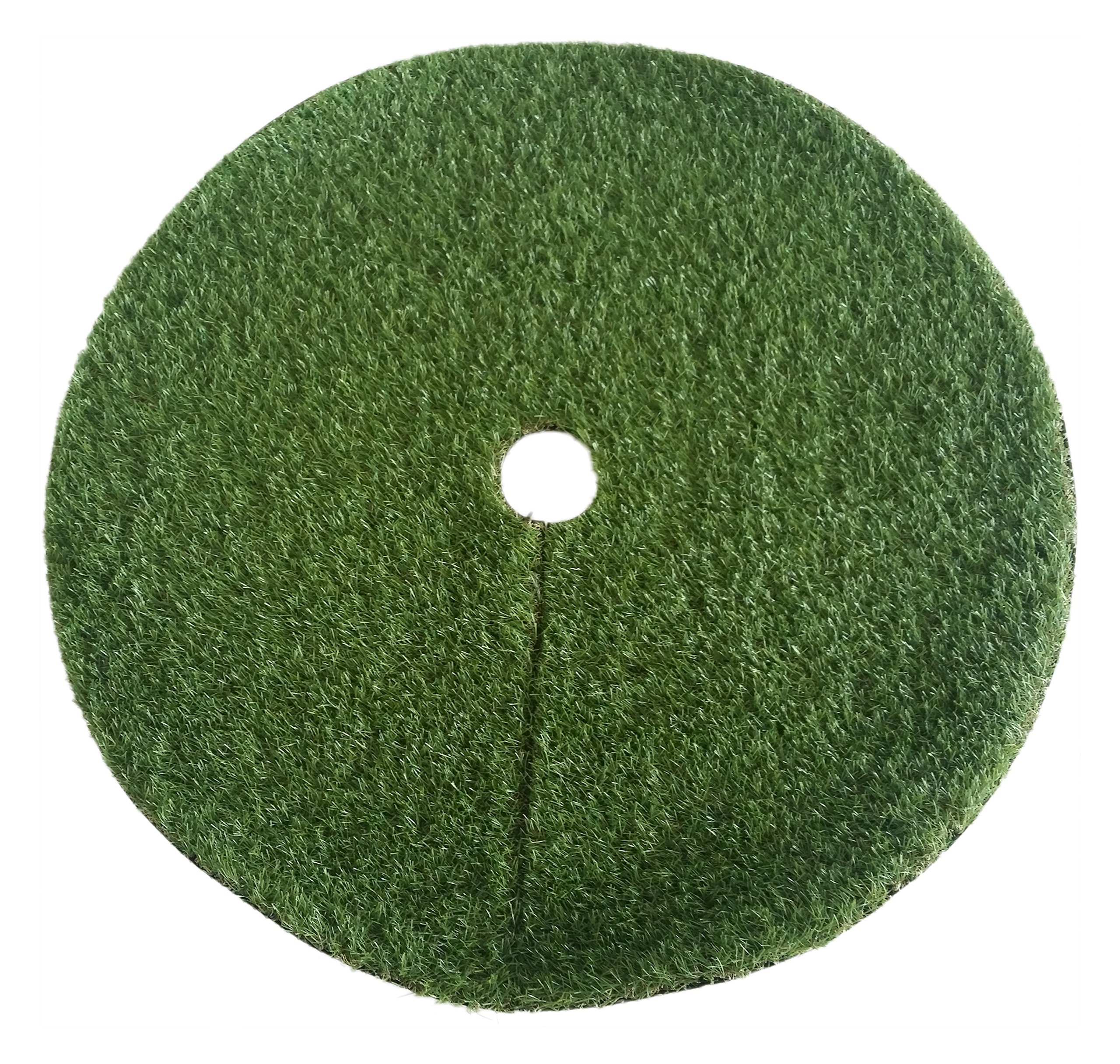 Zen Garden Artificial Grass Christmas Tree Skirt w/ Anti-Slip Rubber Base (36'' Diameter)   Realistic Synthetic Round Grass Rug   Indoor & Outdoor Xmas Tree Skirts   Unique Holiday Decorations (Green)