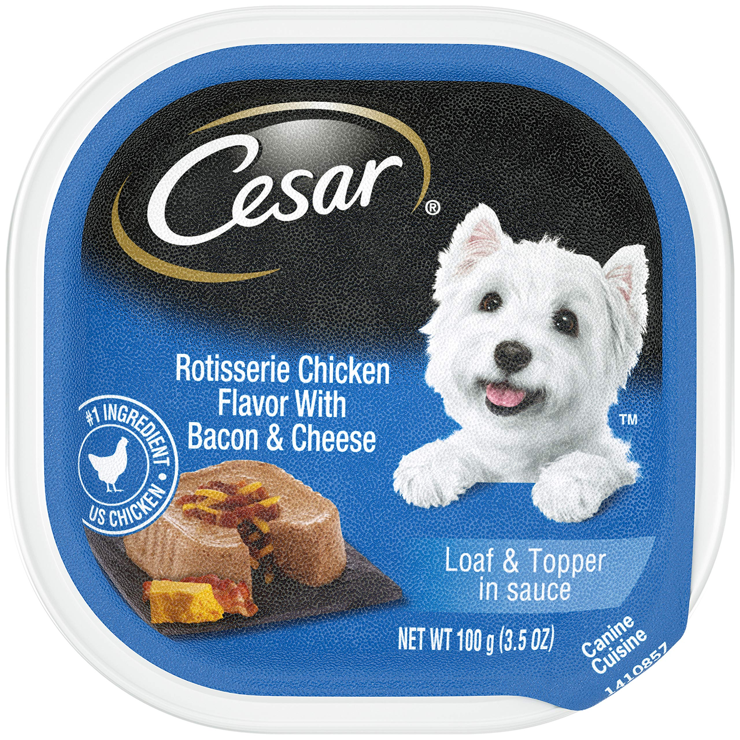 CESAR Soft Wet Dog Food Loaf & Topper in Sauce Rotisserie Chicken Flavor with Bacon & Cheese, (24) 3.5 oz. Easy Peel Trays by Cesar