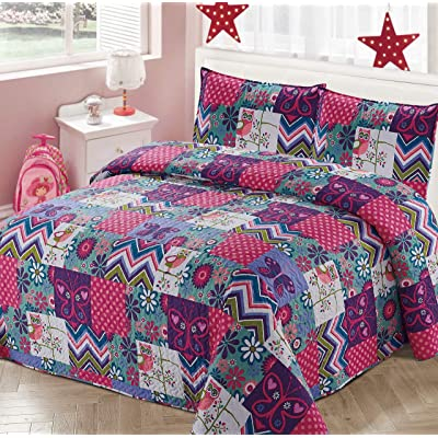 Kids Zone Home Linen 2pc Twin Bedspread Coverlet Quilt Set for Girls Patchwork Floral Pink Purple Polka Dots Butterfly Owls Zig Zag: Home & Kitchen