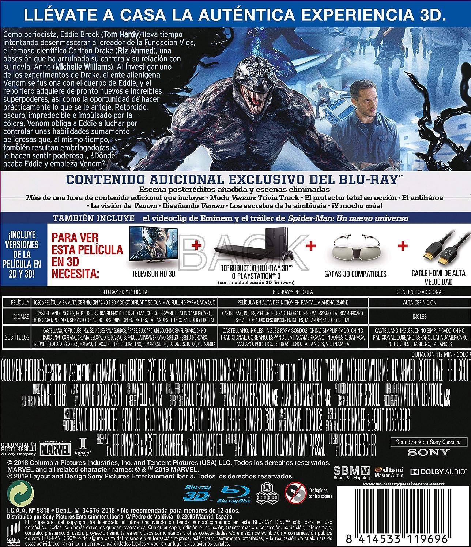 Venom (BD 3D + BD) [Blu-ray]: Amazon.es: Tom Hardy, Michelle ...