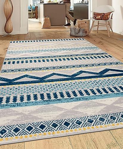 Rugshop Sky Collection Contemporary Bohemian Design Area Rug 5' x 7' Blue